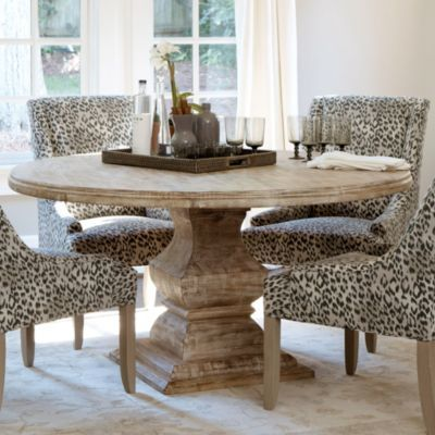 Andrews Pedestal Dining Table | Ballard Designs I love this I have a table similar to this I am going to redo and find some chairs like this to do this design.