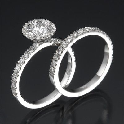 Round Cut Engagement Ring Set - View 2