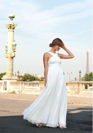 I would go long if it were in a lighter fabric with a simple cut and pretty neckline// Chiffon Halter Column Simple wedding dresses