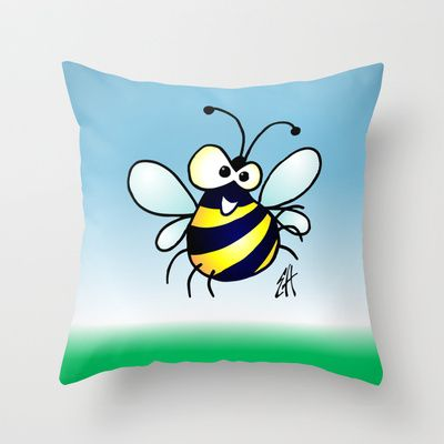 Buy Bumbling Bee by Cardvibes.com - Tekenaartje.nl as a high quality Throw Pillow. Worldwide shipping available at Society6.com. #Cardvibes #Tekenaartje #Society6 #spring