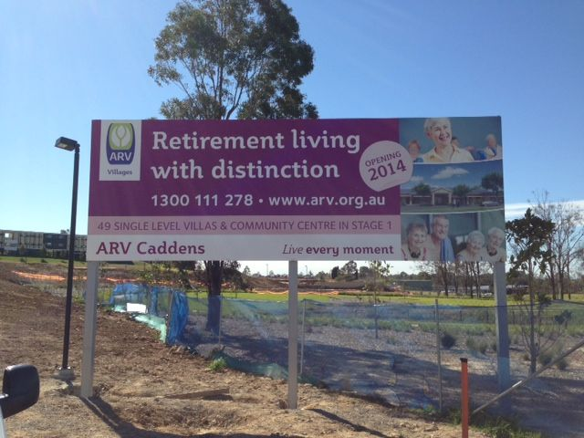Cunneen Signs - Anglican Retirement Village Temporary advertising signage for ARV