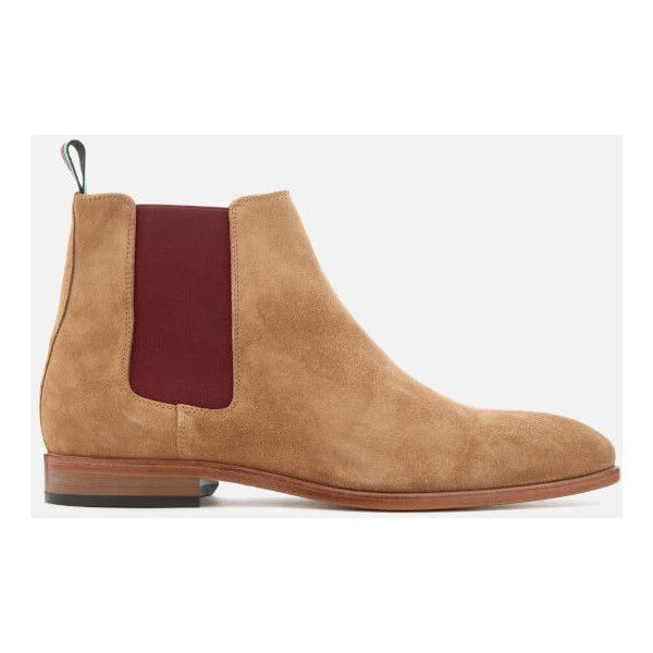 PS by Paul Smith Men's Gerald Suede Chelsea Boots - Camel ($280) ❤ liked on Polyvore featuring men's fashion, men's shoes, men's boots, beige, mens shoes, mens beatle boots, mens boots, mens camel dress shoes and mens chelsea boots