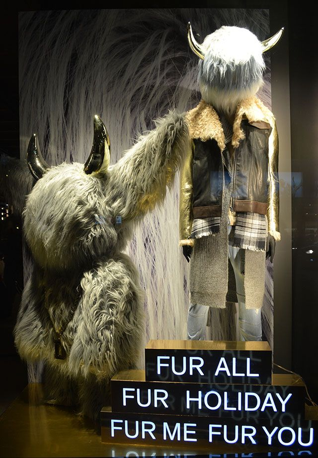 """DIESEL, Sloane Square, London, UK, """"Fur All, Fur Holiday.... You cannot fake chic but you can be chic and fake fur"""", photo by Trend VM, pinned by Ton van der Veer"""