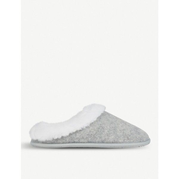 The White Company Felt faux-fur slippers (£28) ❤ liked on Polyvore featuring shoes and slippers