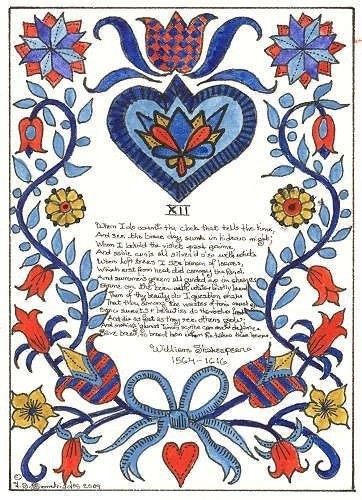 FRAKTUR WITH A SONNET BY WILLIAM SHAKESPEARE.