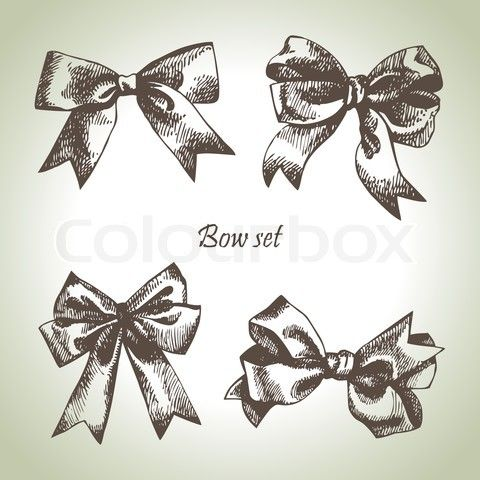 Stock vector of 'Set of bow Hand drawn illustrations of ribbons'