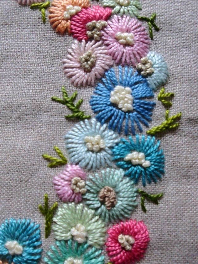 pretty hand embroidered flowers