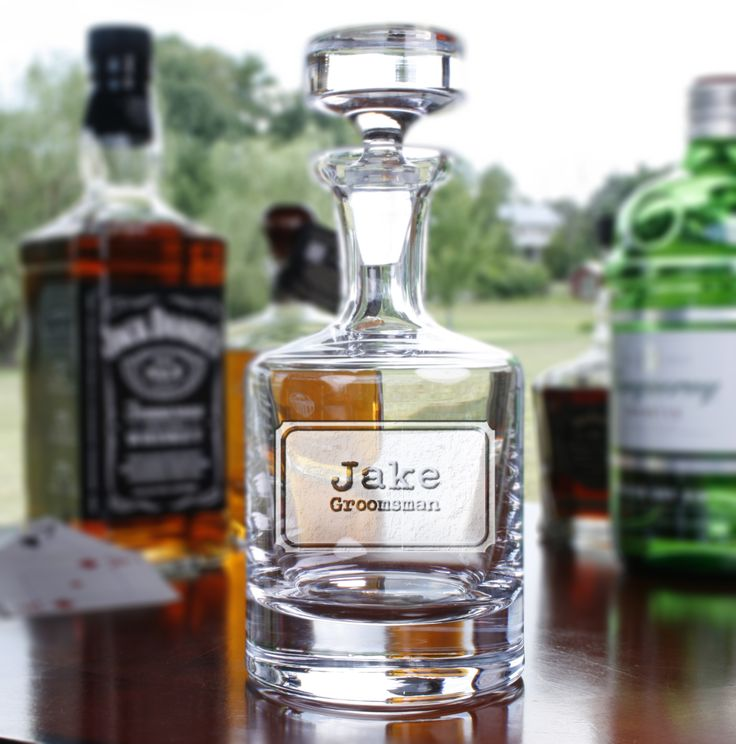 Engraved personalized whiskey scotch bourbon decanter by Crystal Imagery is deeply hand carved for a 3D effect. Groomsmen gifts, groomsman, best man, usher gift ideas. #groomsmen