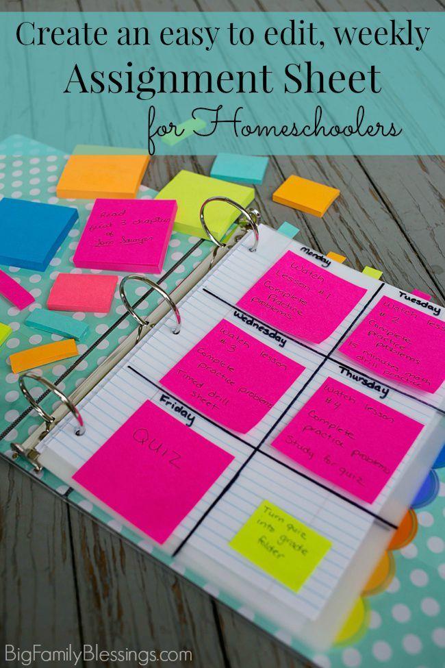 Create an Straightforward to Edit, Homeschool Weekly Task Sheet