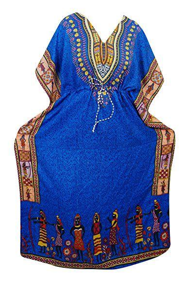 Mogul Womens Kaftan Dress Colorful Dashiki Tribal Printed Kimono Dress Caftan Cover Up (Blue-3)    #bohemiancaftan #womenscaftan #sale #bohohippie #color #housdress #beachdress