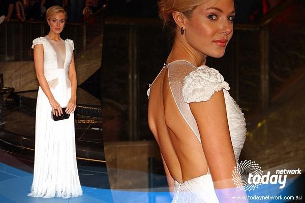 Actress Jessica Marais in J'Aton Couture at Australia Logies 2010