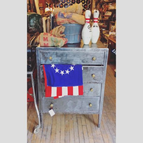 Metal reclaimed industrial dresser. Neat decor for a mancave, garage, etc. Completely refurbished and sold at our shop in Toronto!