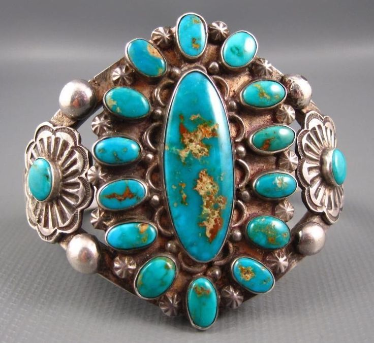 Old Pawn Navajo Hand Chisel Sterling Royston Turquoise Cluster Split Frame Cuff