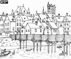 desenho de Cidade medieval com uma ponte para colorir