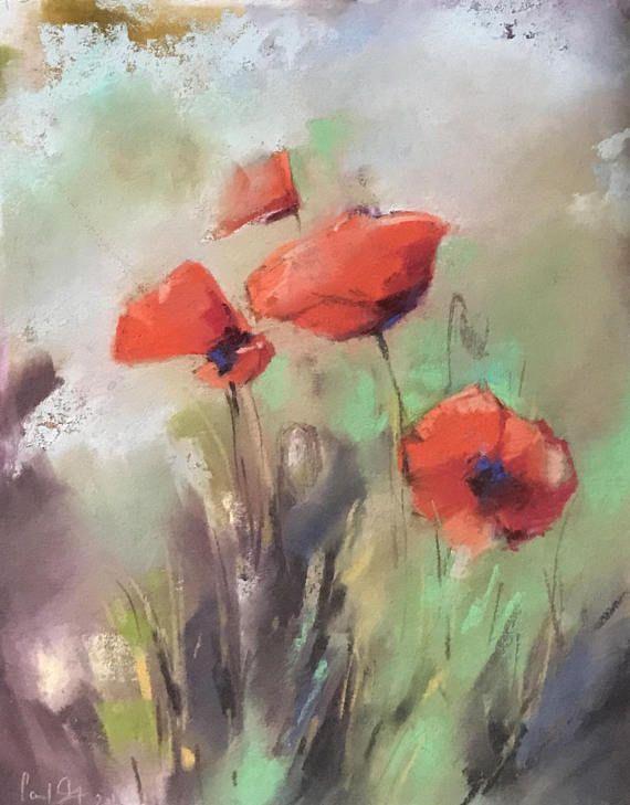 Rote Mohnblumen Weichen Pastell Original Gemalde Mohnblumen Malerei Roter Mohn Kunst Weichen Pastell Kunst Malerei B Poppy Painting Poppy Drawing Poppy Art