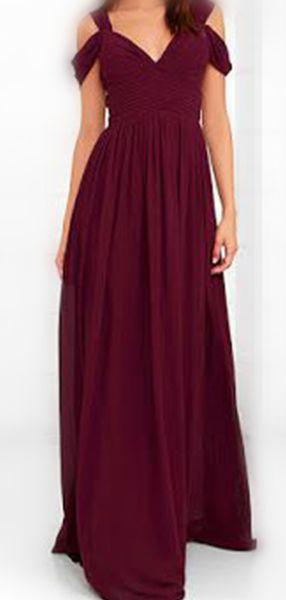 A-Line V-Neck Off Shoulder Burgundy Floor Length Cheap Bridesmaid Dresses,VPWG073