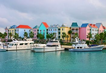 Rich Pinks, Blues and Greens of the Bahamian Homes. Gorgeous!