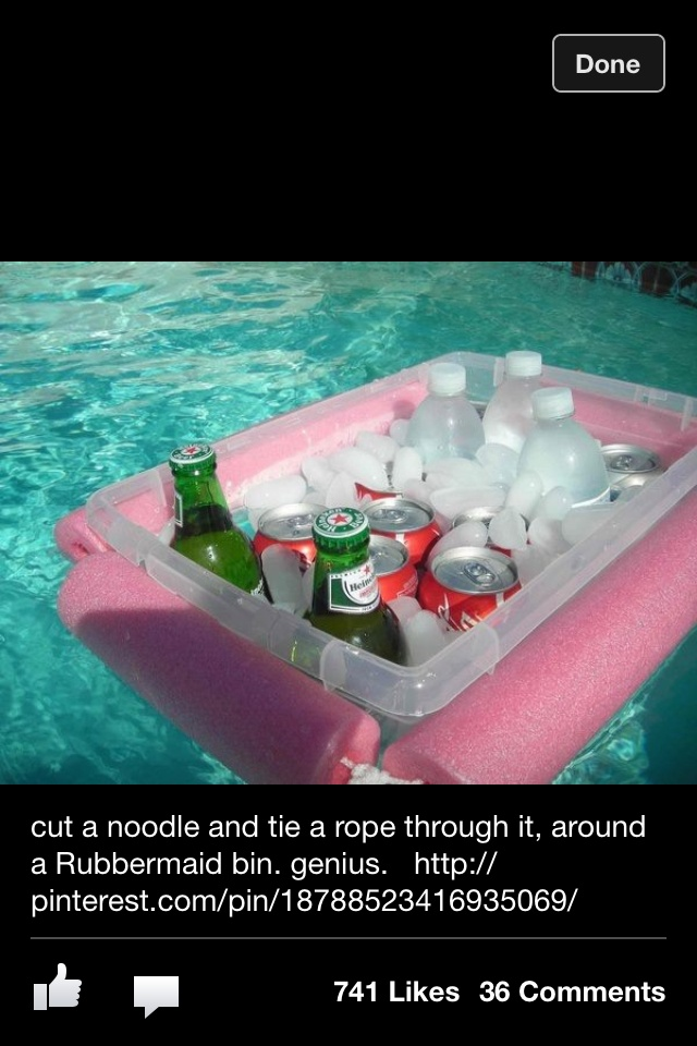 Get a big Rubbermaid box and tie two noodles around it put ice in it then put drinks and it will float it the pool