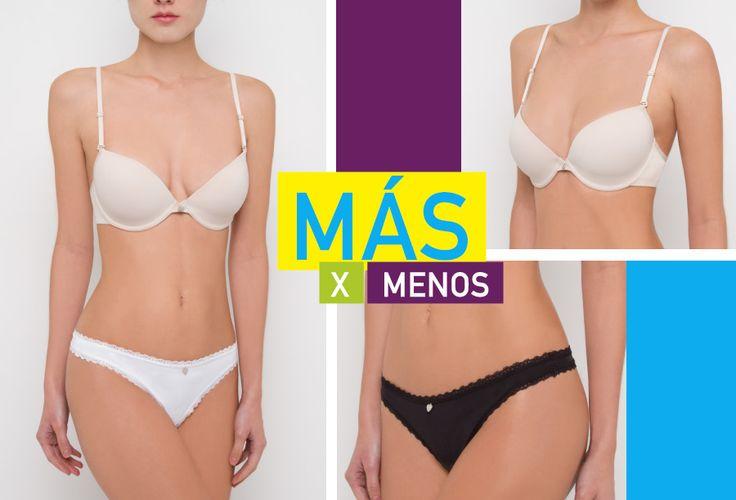 En Intima Secret tu eliges llevar Más X Menos, más de lo que te gusta De Corazón  2 brassieres $29.900 (1 x $19.900) 5 Panties $25.000 (3 x $17.900 o 1 x $8.900).