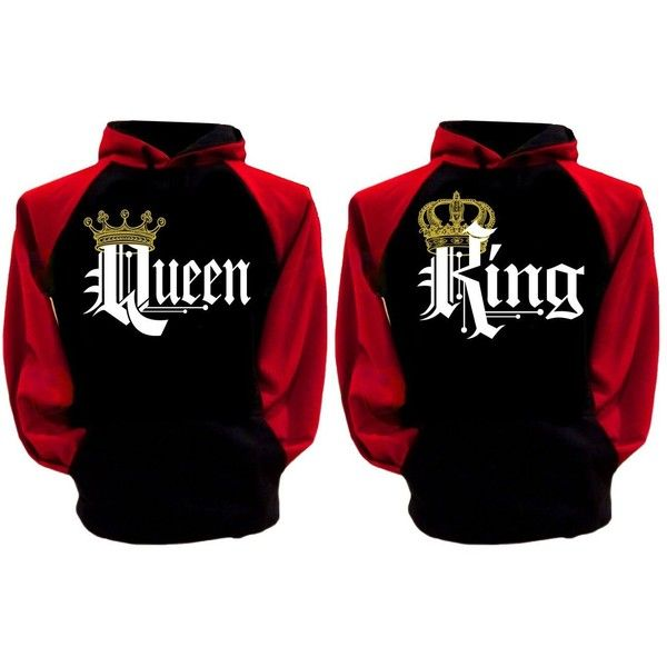 Couple Matching King Queen Crown Raglan Hoodie Pullover Hooded... ($51) ❤ liked on Polyvore featuring tops, hoodies, hooded sweatshirt, hooded pullover sweatshirt, hoodie pullover, raglan hoodie and hoodie top