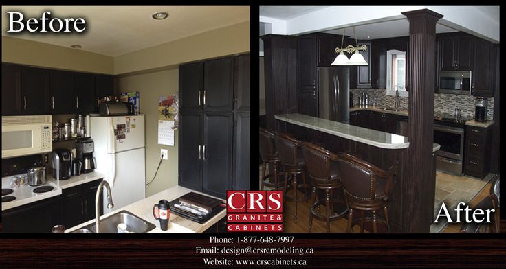 This is one of our many completed kitchen projects. We offer full home renovations, speacializing in kitchens, bathrooms and basements. To learn how you can create your dream renovation for less, visit our website at www.crscabinets.ca or give our showroom a call at 1-877-648-7997!