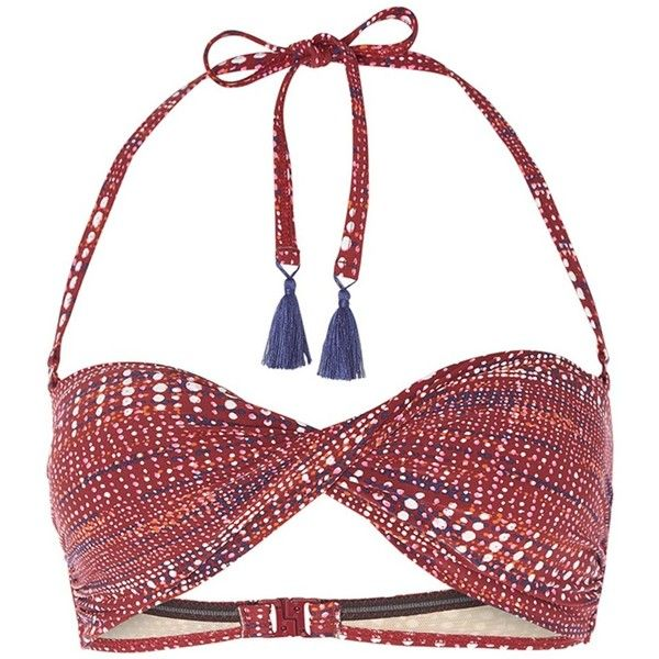 White Stuff Boca Chica Spot Bandeau Bikini Top, Desert Red ($25) ❤ liked on Polyvore featuring swimwear, bikinis, bikini tops, red bikini top, bandeau tops, red polka dot bikini, white bikini top and polka dot bikini