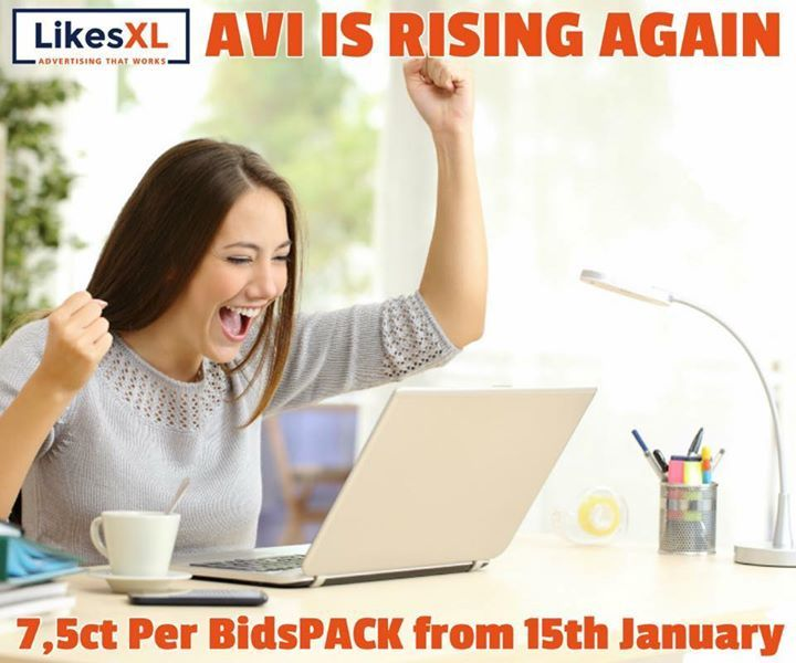AVI is on the rise!  ----------------------  The New Year is an excellent time to tell you that LikesXL is about to raise the AVI!   Starting on Monday 15th of January the AVI will already start to bounce back as predicted and will be up to 7.5 cents per Bids pack per day. This trend will continue as the Casino site returns to full strength. The AVI rise is just the beginning of a beautiful journey LikesXL is going to make in 2018! So stay tuned!   Lots of exciting new features are coming…