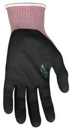 Memphis Glove Medium Gray, Red And Black Ninja™ 15 Guage DSM Dyneema Diamond Tech®, Nylon And Fiberglass Cut Resistant Gloves With Knit Wrist And Black Nitrile Foam Coating On Palm And Fingers