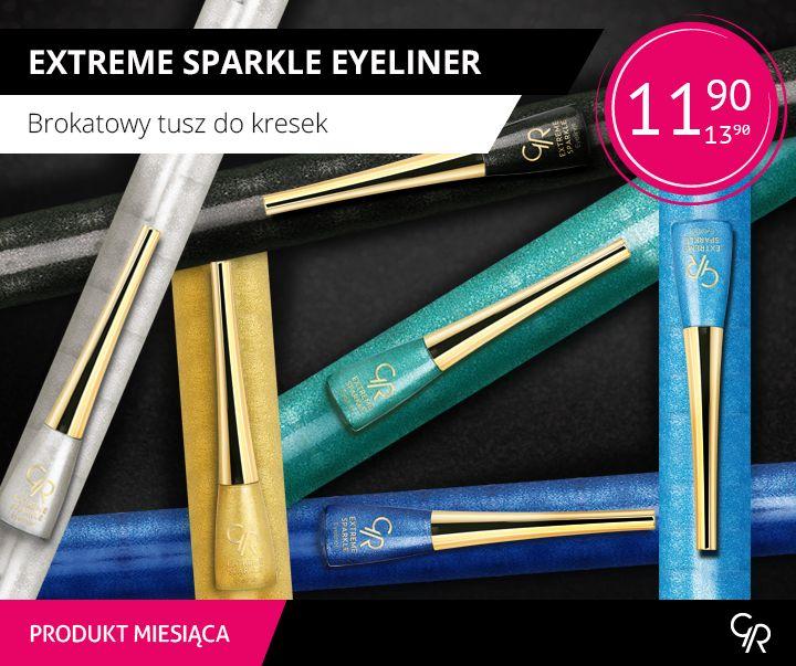 Są już pomysły na karnawałowe makijaże? W styczniu naszym produktem miesiąca jest Extreme Sparkle Eyeliner czyli Brokatowy tusz do kresek. Tylko w tym miesiącu dostępny w nowej niższej cenie za jedyne 11,90 zł.