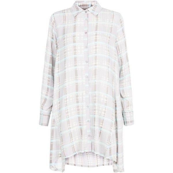 Apricot Grey Pastel Check Shirt Dress ($44) ❤ liked on Polyvore featuring dresses, shirt dress, hi lo dresses, gray shirt dress, long sleeve dresses and mullet dress