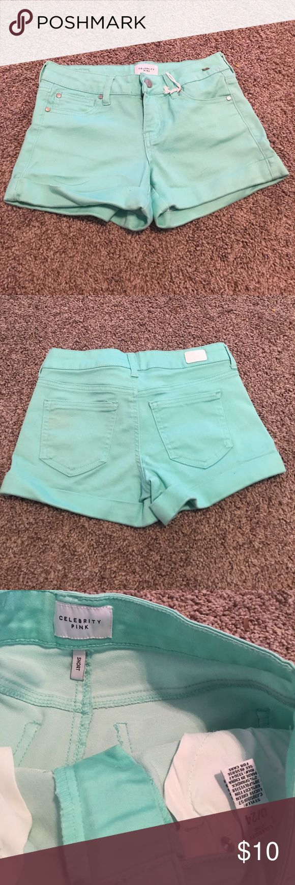 Teal Shorts Size 0/24 woman's celebrity pink Brand new! Tags have fallen off but never has been worn woman's size 0/24! Celebrity pink brand ! Bright Teal shorts! Bundle and save. Celebrity Pink Shorts