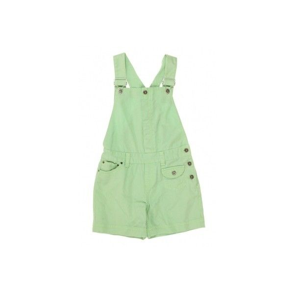 Lime Green Denim Short Dungarees W31 ❤ liked on Polyvore featuring shorts, dresses, bottoms and one-piece