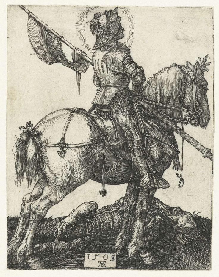 1508 Albrecht Dürer, St George on horseback beside the slain dragon (De Heilige Joris te paard naast de gedode draak)