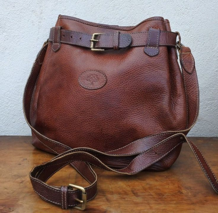 Authentic MULBERRY shoulder LEATHER bag BROWN RARE vtg cross body satchel…