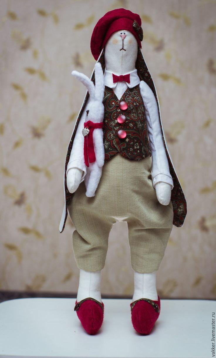 Купить Текстильный заяц - коричневый, текстильный заяц, тильда заяц, мягкая игрушка заяц