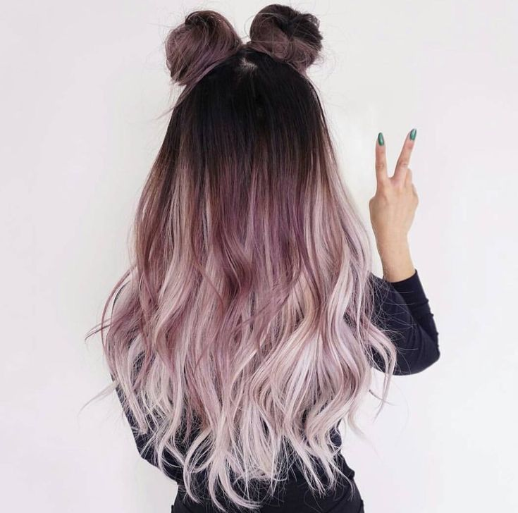 Awesome rockin hairstyle and color. Ombre dark to light. Buns/bows. Rose color. Pastel pinks, lilac, blonde. Long hair. Cute and casual style.