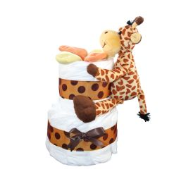 Safari Mini Diaper Cake With Giraffe                                                                                                                                                     Plus