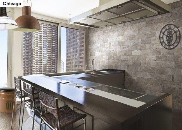 Rustiikkista ilmettä keittiöön luot Chicago -sarjan laatoilla. Kuvassa ICI Chicago South Side ja South Side City mix 10x20 cm.