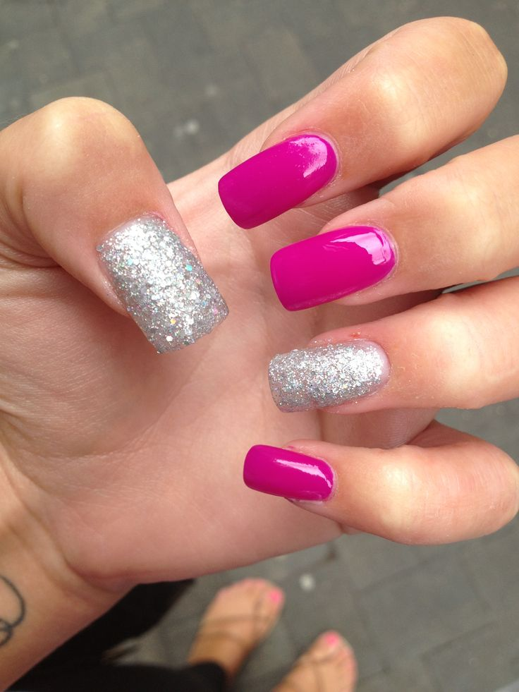 205 best acrylic nails images on pinterest nail designs nail acrylic nail design hot pink and silver nails prinsesfo Choice Image