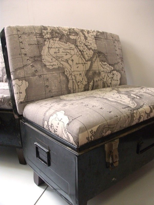 Black Trunk Chairs with African Mud Map Fabric - I am sure this is easy enough to figure out and reproduce.  Love it!!! #UniqueChair