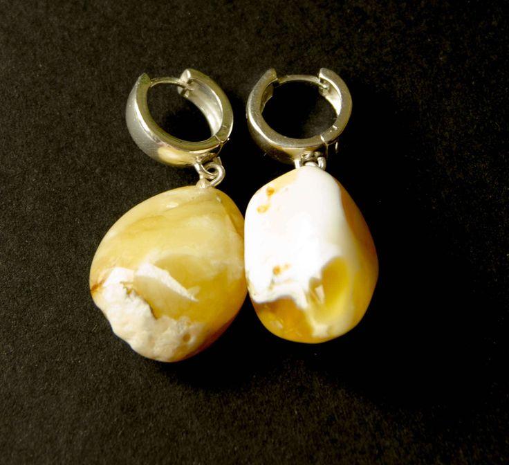 Amber  Earrings, Hängeohrringe, Sterling Silver 925, nugget, Yellow, butterscotch, Bernsteinohrringe, Silber, Bärnsten, ambre, Neu Handmade von DiesAndDas auf Etsy