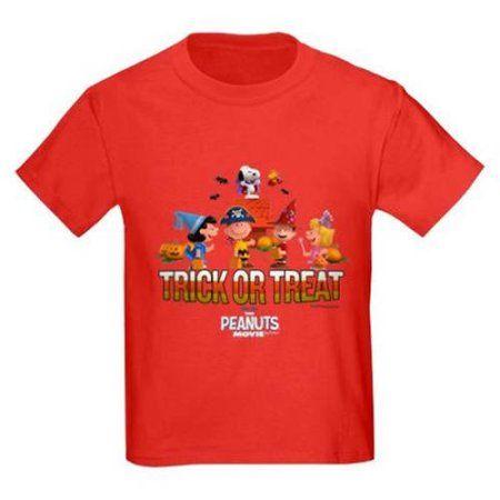 CafePress The Peanuts Movie - Trick or Treat Kids' Dark T-Shirt, Red