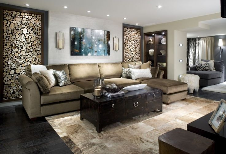 """A room makeover by Candice Olson for her HGTV series """"Divine Design"""" turns wood into artwork along the walls. Great idea to take traditional hardwood and turn it into something unexpected."""