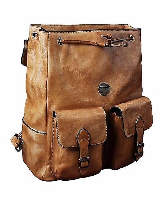 d21f7b65004f Vintage Genuine Leather 16 Laptop Backpack, Women Backpack, Men Backpack, Travel  Backpack,