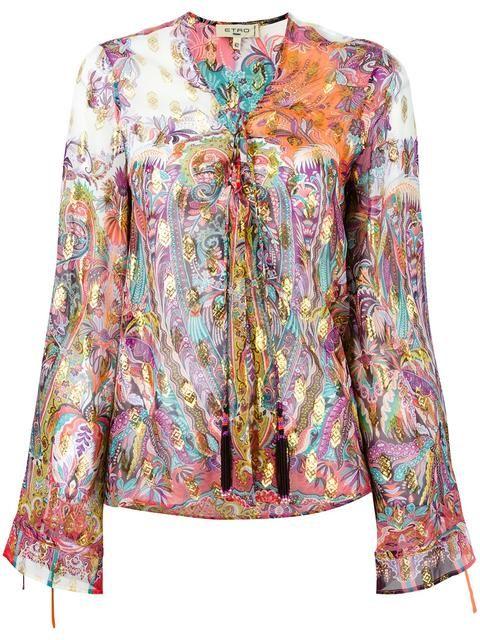 Comprar Etro blusa con cordones con cuentas y borlas.