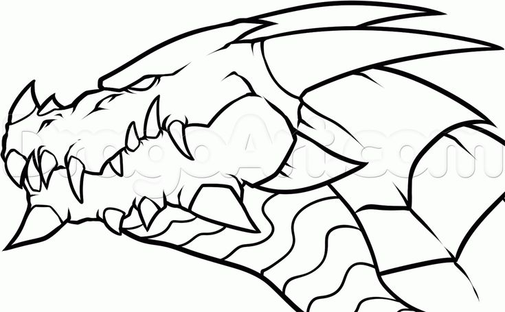 Draw a Dragon Head, Step by Step, Drawing Sheets, Added by Dawn ...