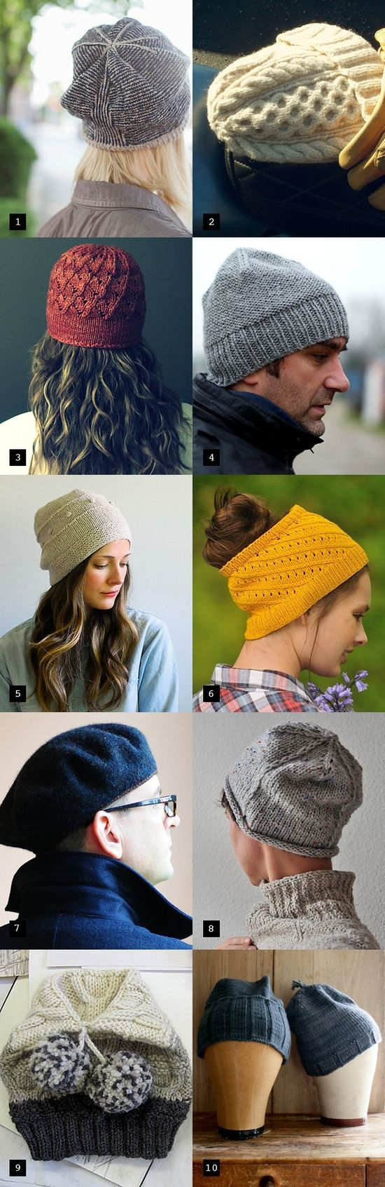 These are all great patterns. Holiday knitting cheat sheet: a hat pattern for every head.