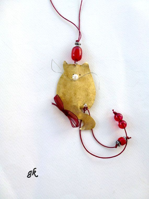 Christmas Cat Ornament Wall Hanging Tree by GeorgiaCollection, €21.00