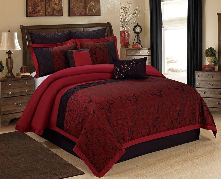 Gothic Bedding Vampire Black & Burgundy Branch 8 pc Comforter Set Queen  ~ NEW #WISTERIA #Gothic