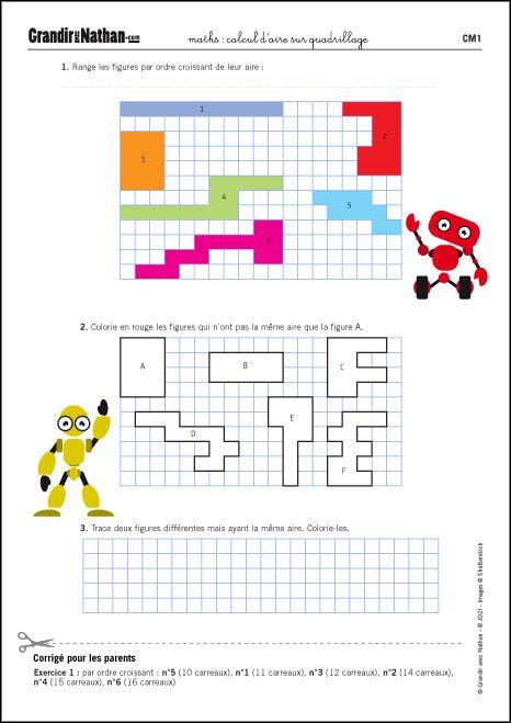 Grandir avec Nathan - Calcul d'aire sur quadrillage | Cm1, Maths cm1, Quadrillage